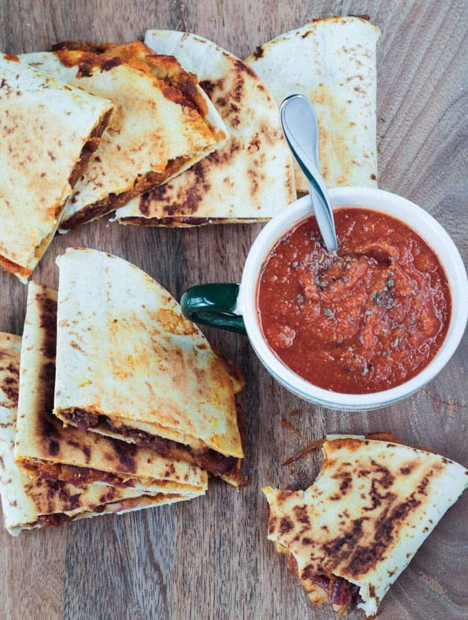 20 Savory Apple Recipes to Try This Fall: Pumpkin Apple and Caramelized Onion Vegan Quesadilla