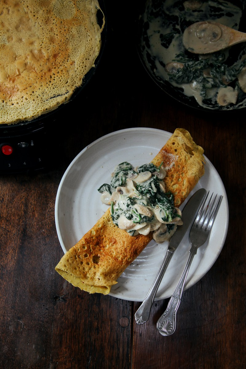 49 Savory Vegan Breakfast Recipes: Savory Chickpea Crepes