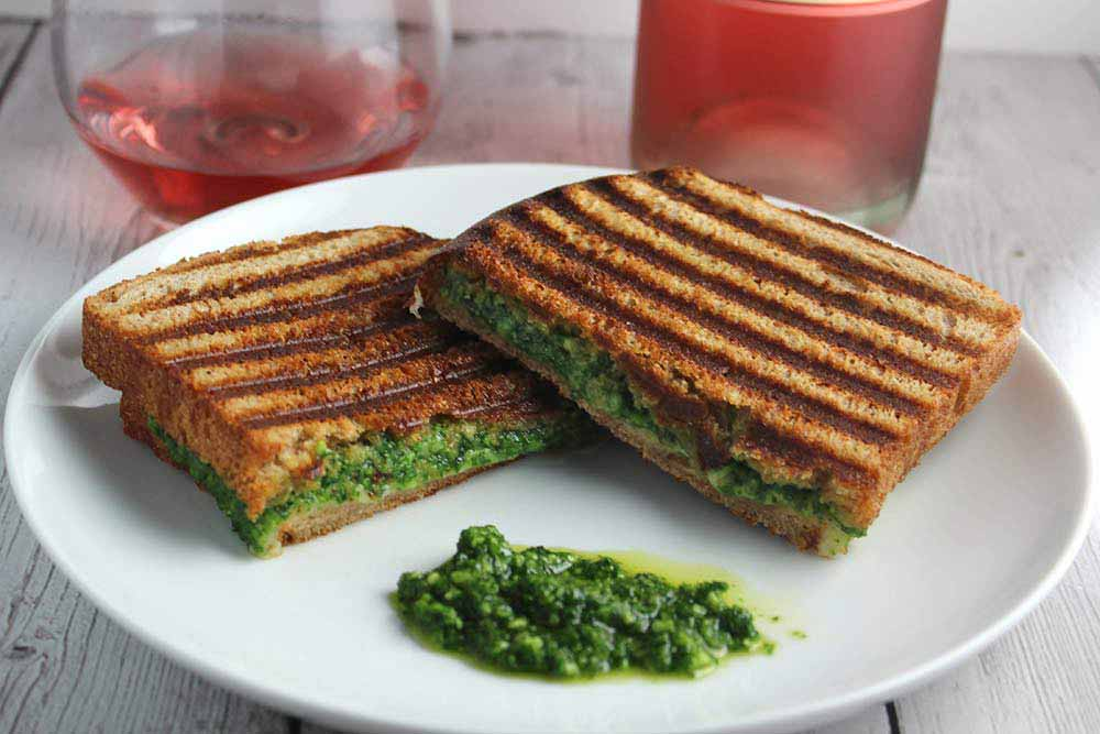 21 Mind-Blowing Grilled Cheese Sandwich Recipes: Kale Pesto Grilled Cheese