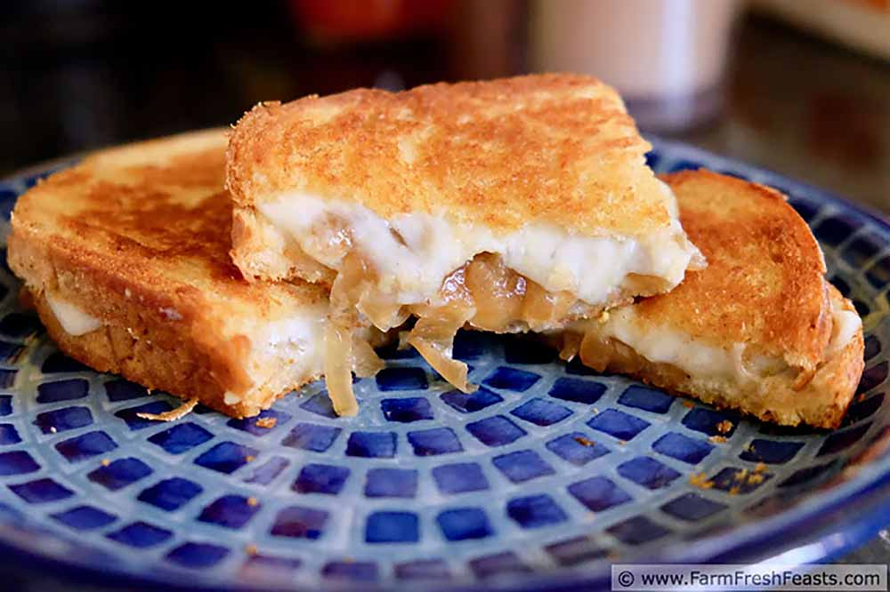 21 Mind-Blowing Grilled Cheese Sandwich Recipes: Grilled Cheese with Caramelized Onion, Gorgonzola, and Havarti