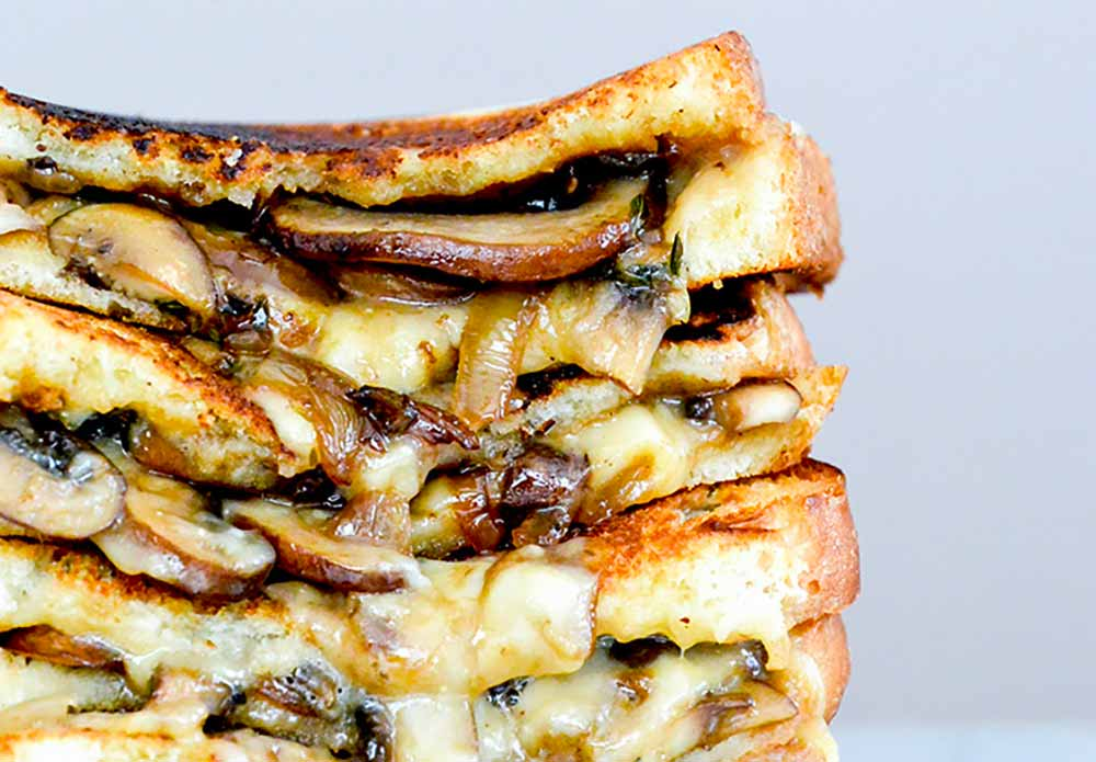 21 Mind-Blowing Grilled Cheese Sandwich Recipes: Mushroom, Onion and Stout Grilled Cheese Sandwiches