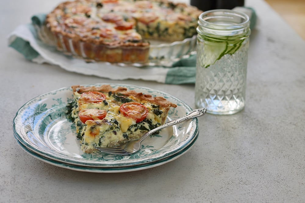 Kale Quiche with Cherry Tomatoes, Corn & Sharp Cheddar