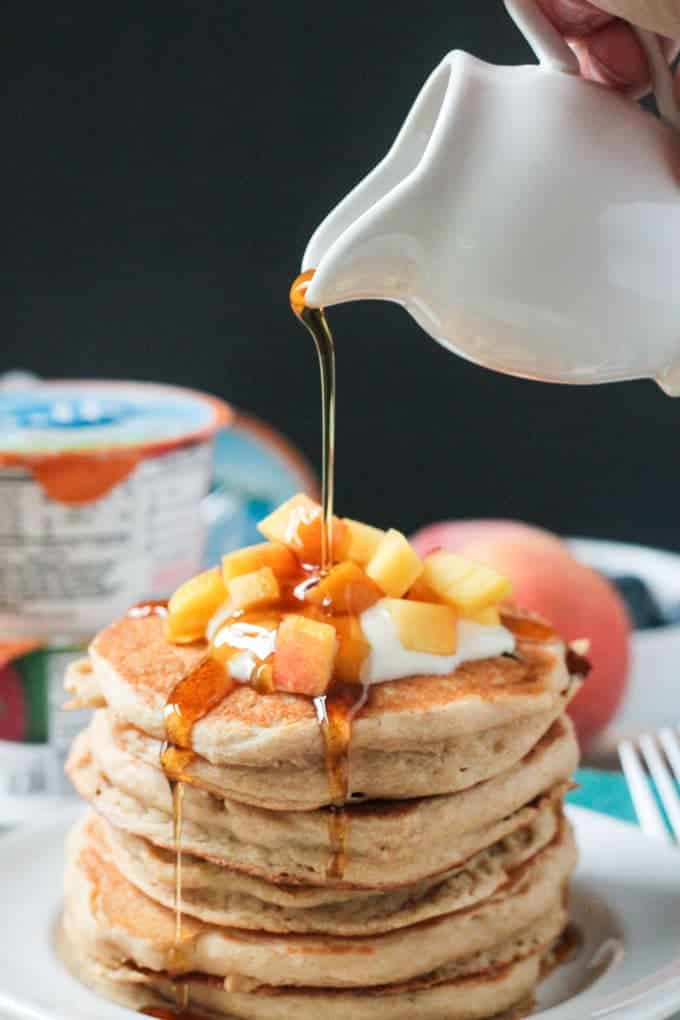 Best Vegetarian Freezer Cooking Breakfasts to Start Your Day Right: Peaches and Cream Dairy-Free Pancakes