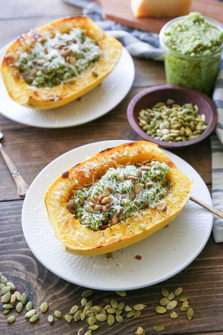 32 Creative Spaghetti Squash Recipes: Broccoli Pumpkin Seed Pesto Spaghetti Squash