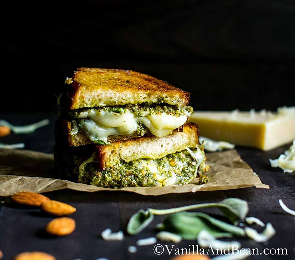 21 Mind-Blowing Grilled Cheese Sandwich Recipes: Almond-Sage Pesto Grilled Cheese Sandwich with Gruyere