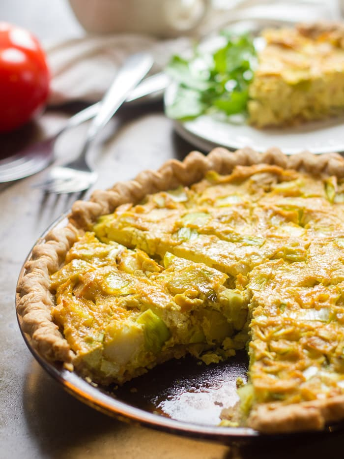 49 Savory Vegan Breakfast Recipes: Potato Leek Vegan Quiche