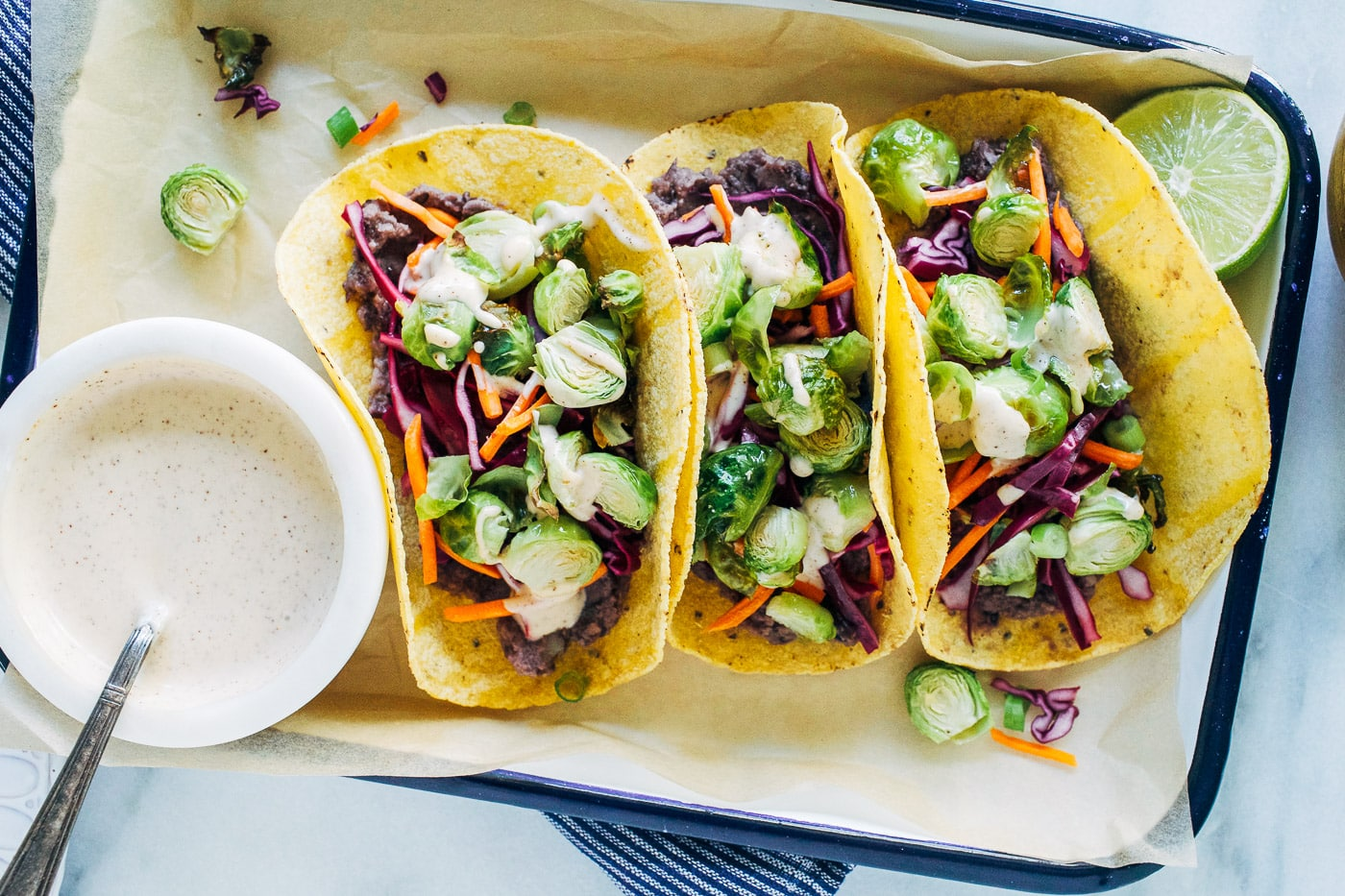 Roasted Brussels Sprout Tacos with Chipotle Aioli