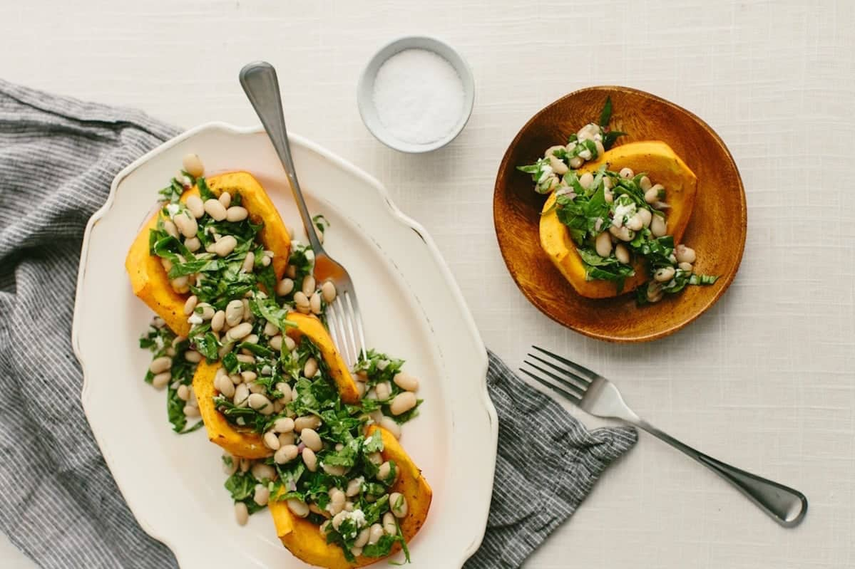 15 Creative Roasted Red Kuri Squash Recipes You Need To Try: Roasted Red Kuri with Spinach and Bean Salad
