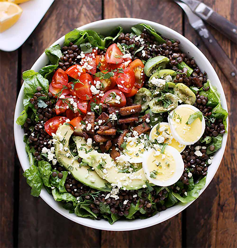 19 Recipes that Swap Lentils for Meat: Vegetarian Cobb Salad Lentil Bowl