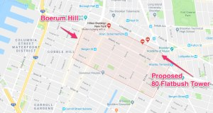 Proposed 80 Flatbush Tower on map