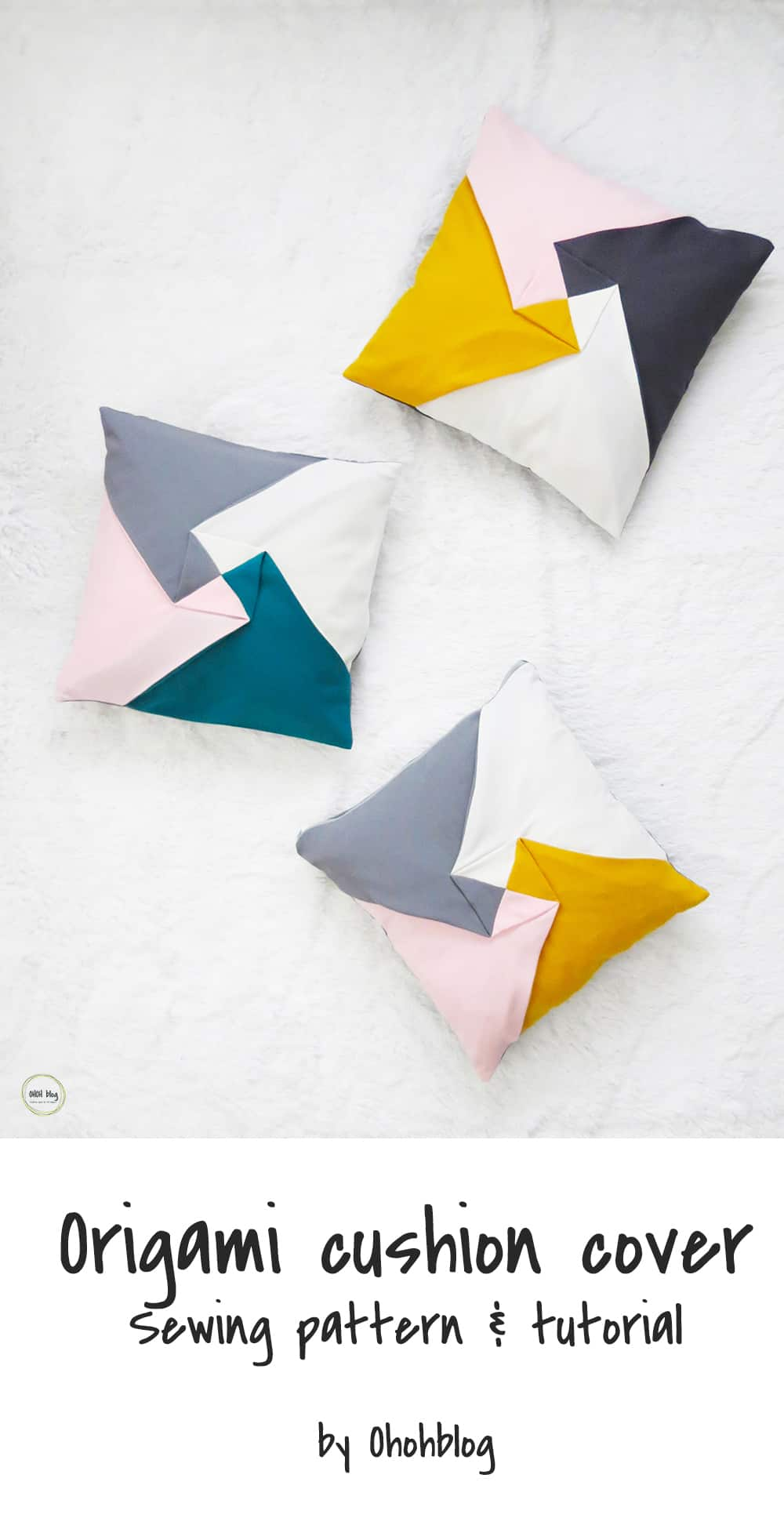 color block origami pillow