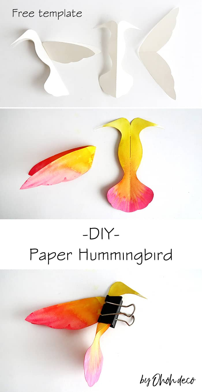 make paper hummingbird with free template