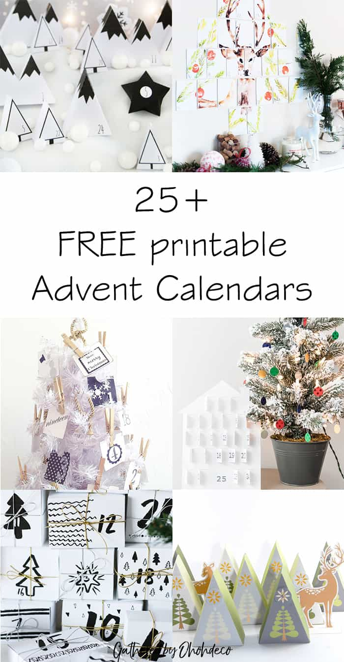 25 free printable advent calendar