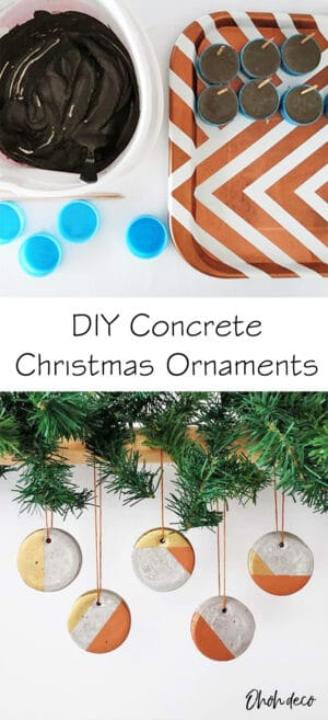DIY concrete christmas ornaments