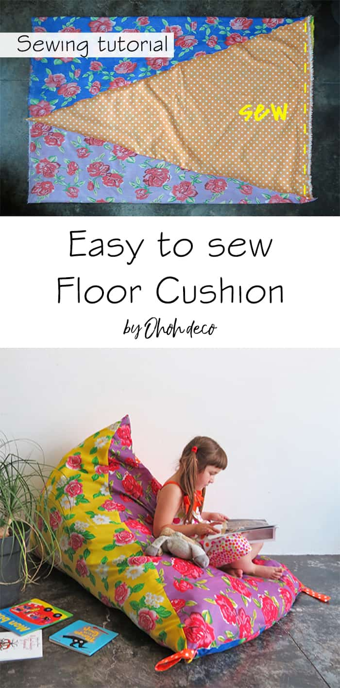 Easy to sew floor cushion tutorial
