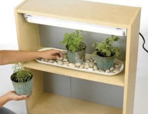 diy bookcase herb garden with grow light
