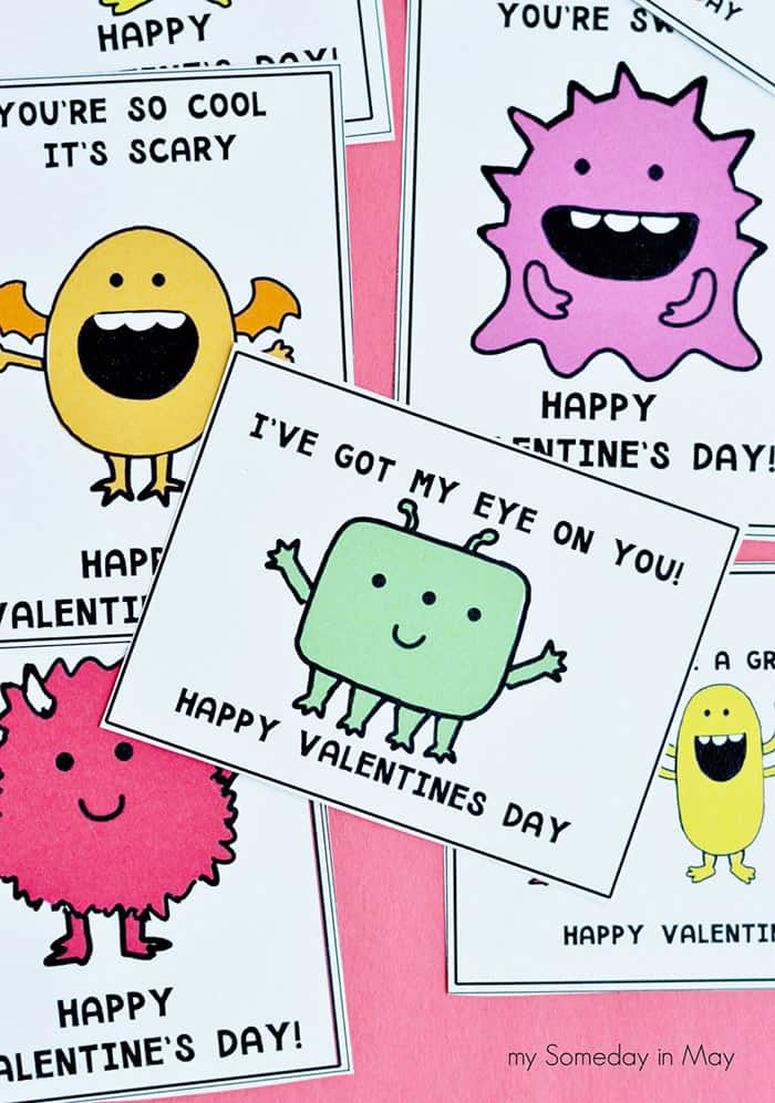 free monster valentine's day card