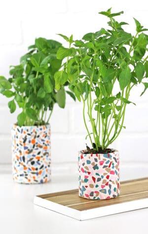 clay terrazzo planter