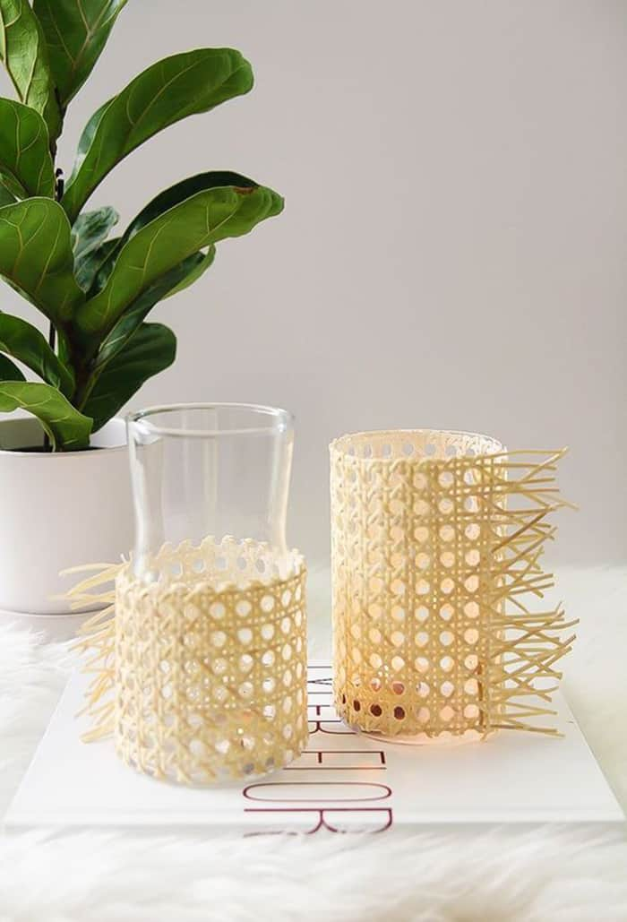 diy rattan candle votive
