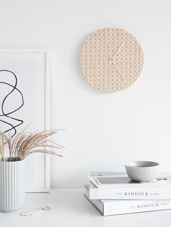 diy rattan wall clock