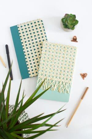 diy rattan notebook
