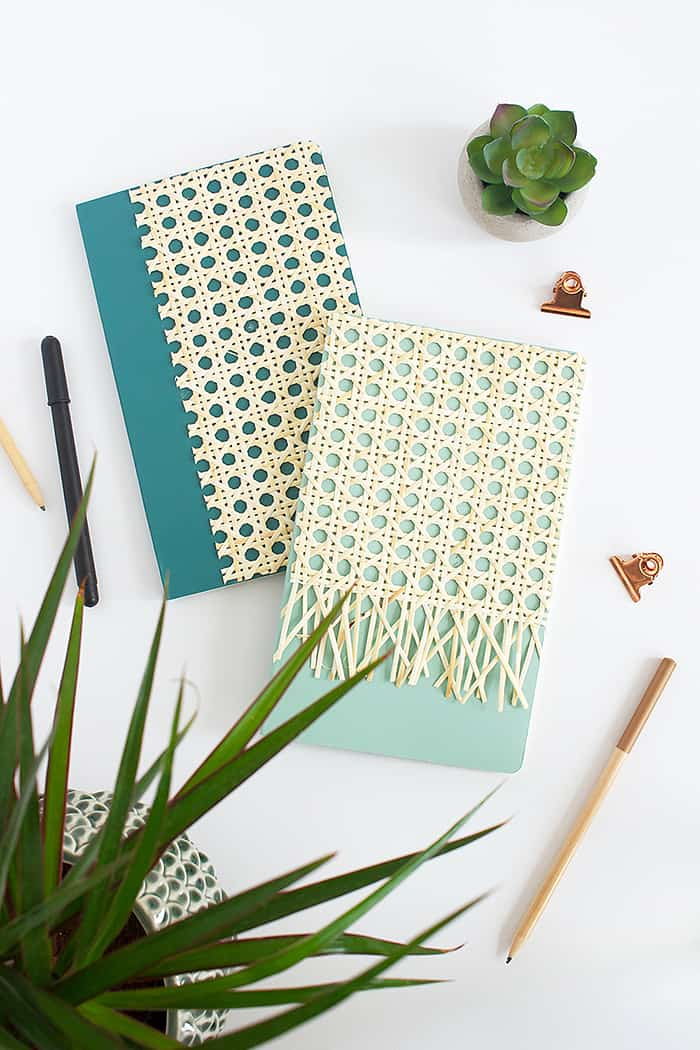 diy rattan notebook