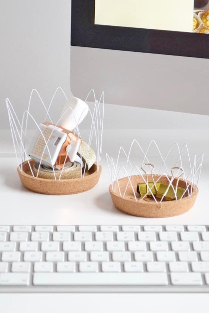 diy wire desk storage