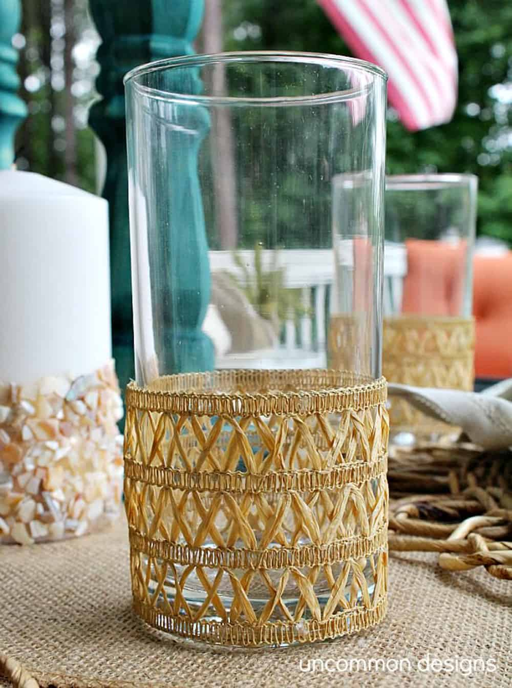 diy faux rattan glass vase
