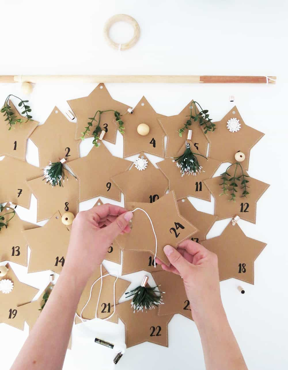 filling Paper Advent Calendar