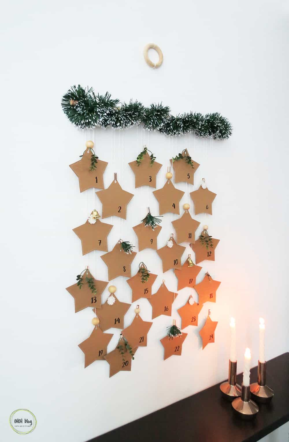 hanging paper advent calendar