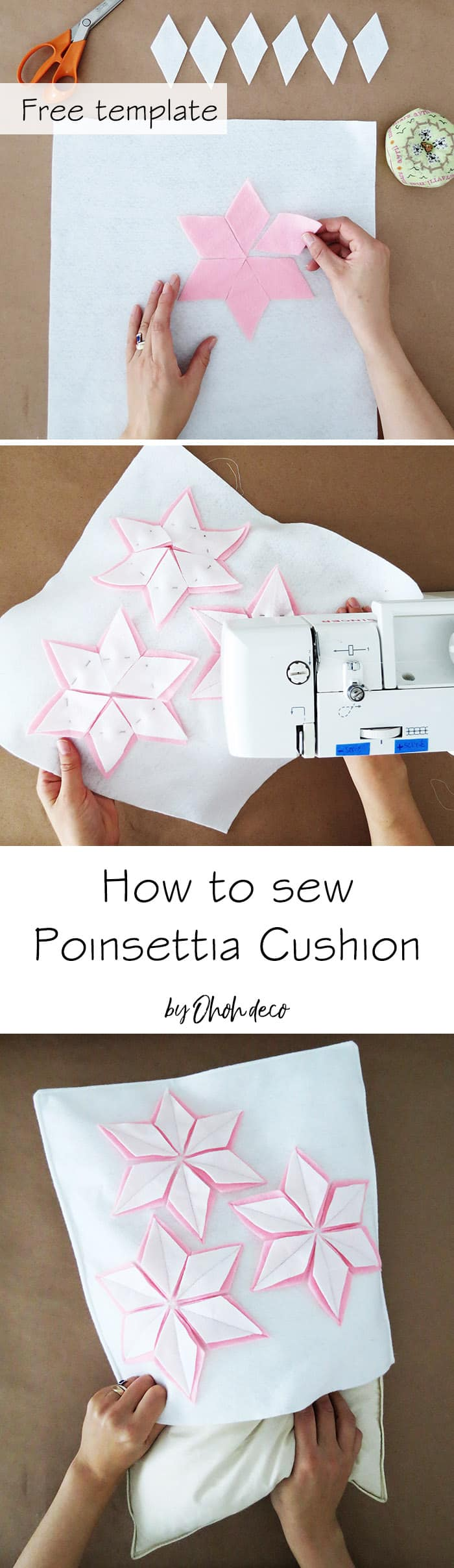how to sew a felt christmas cushion