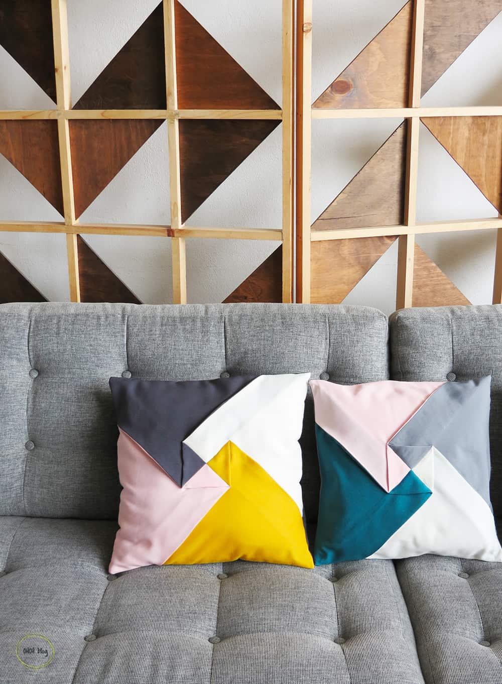 diy color block pillow cover