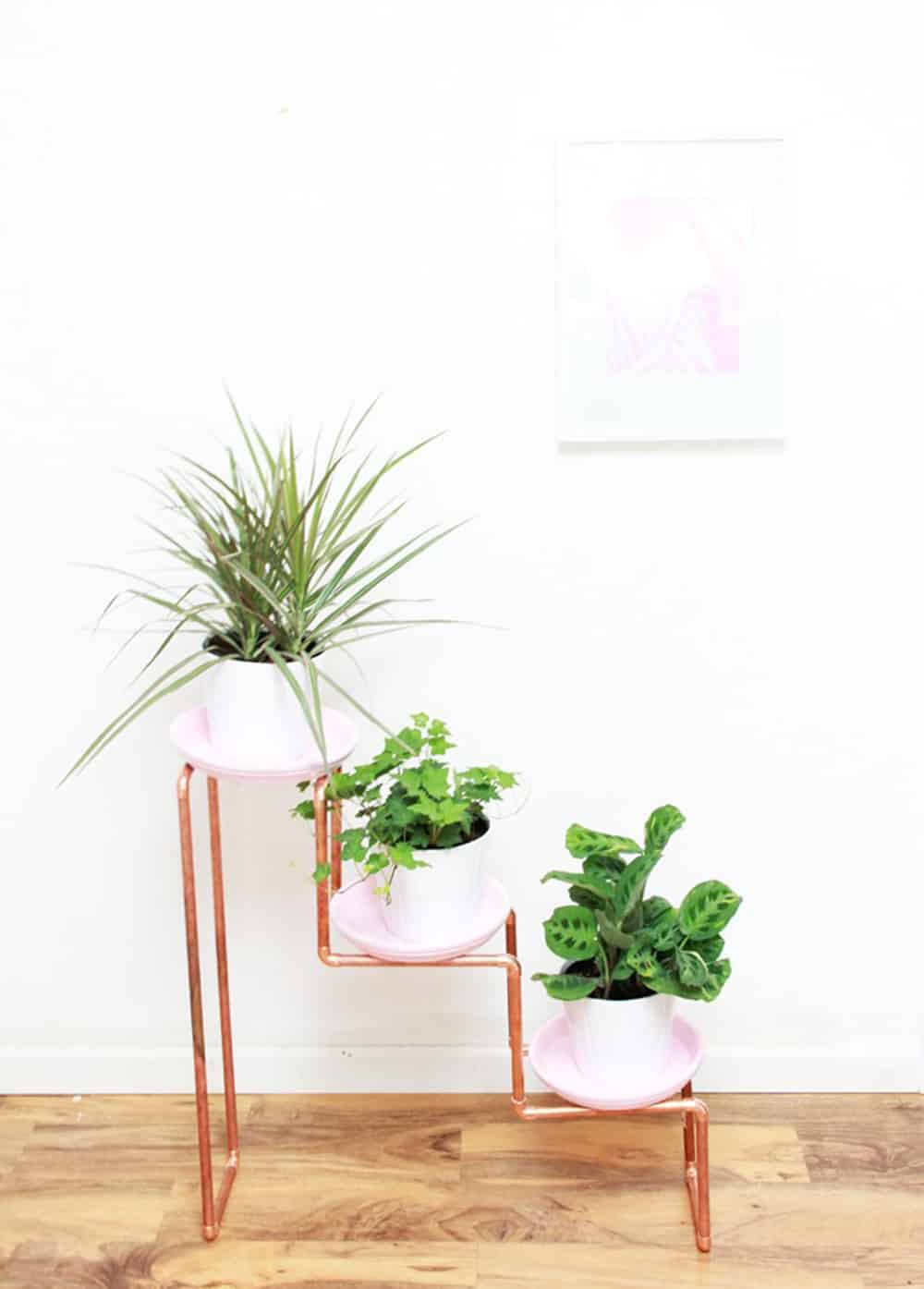 diy trio plant stand wood and copper