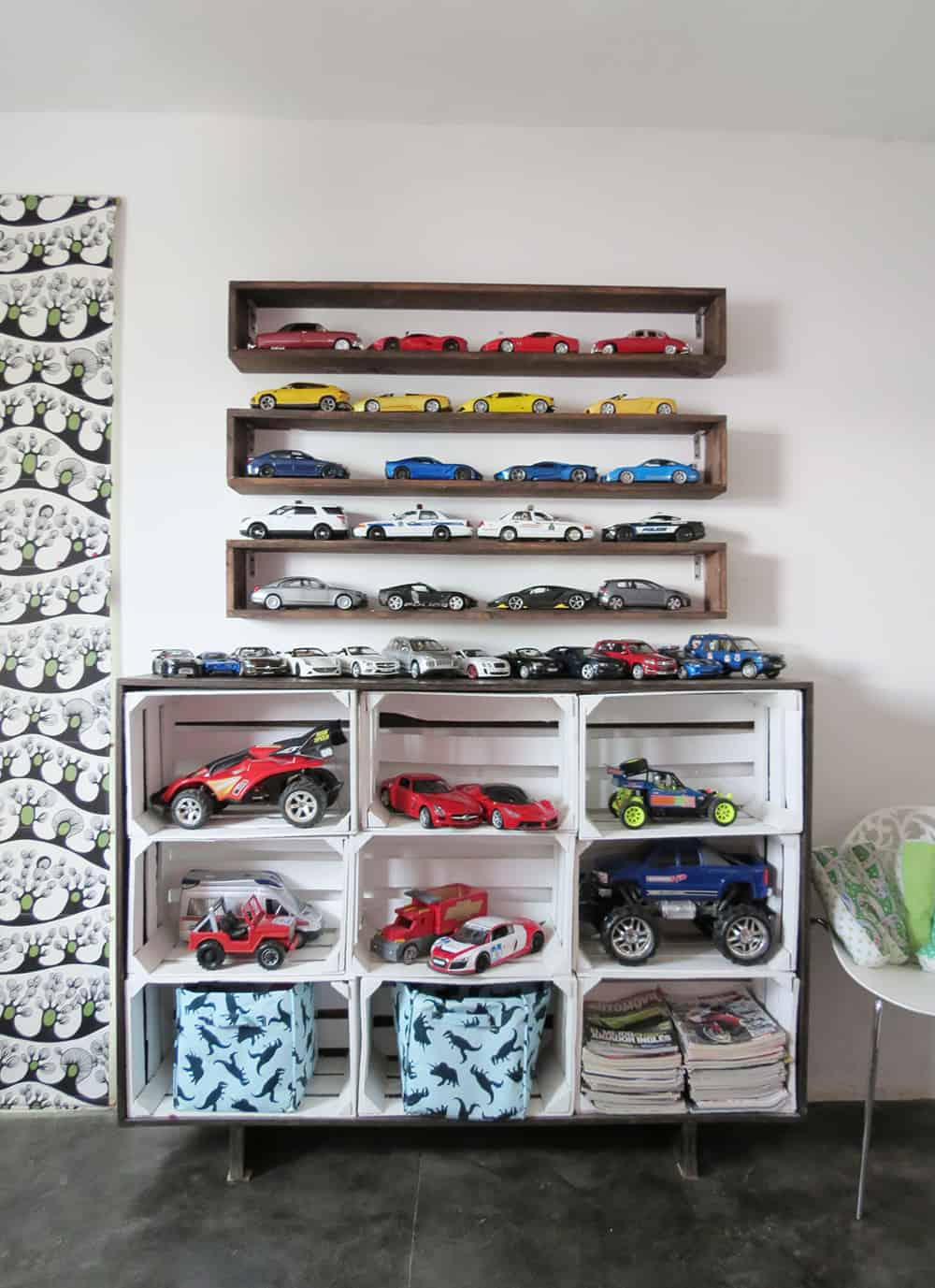 diy storage in kid's bedroom