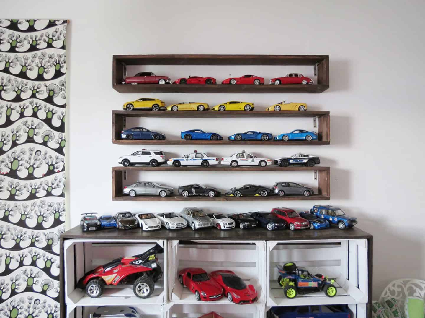 organized boxed shelving