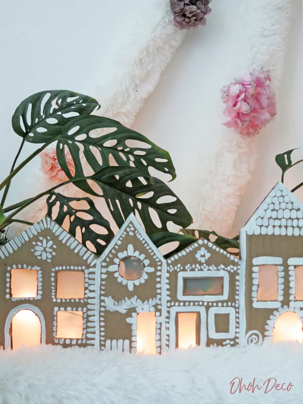 How to make a Christmas gingerbread village with cardboard