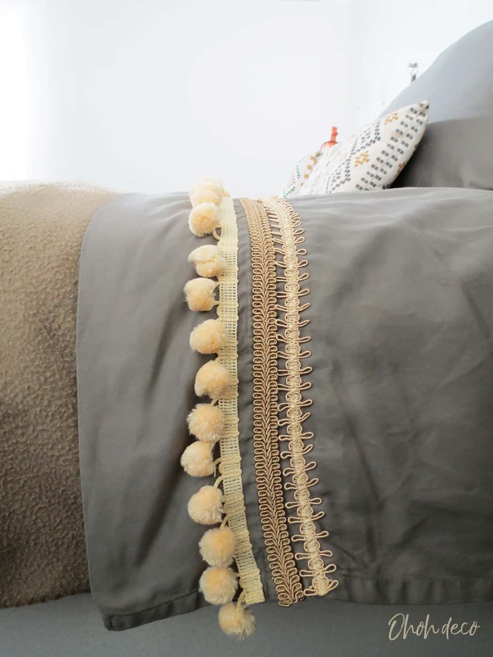 bed sheets upgrade with pom poms