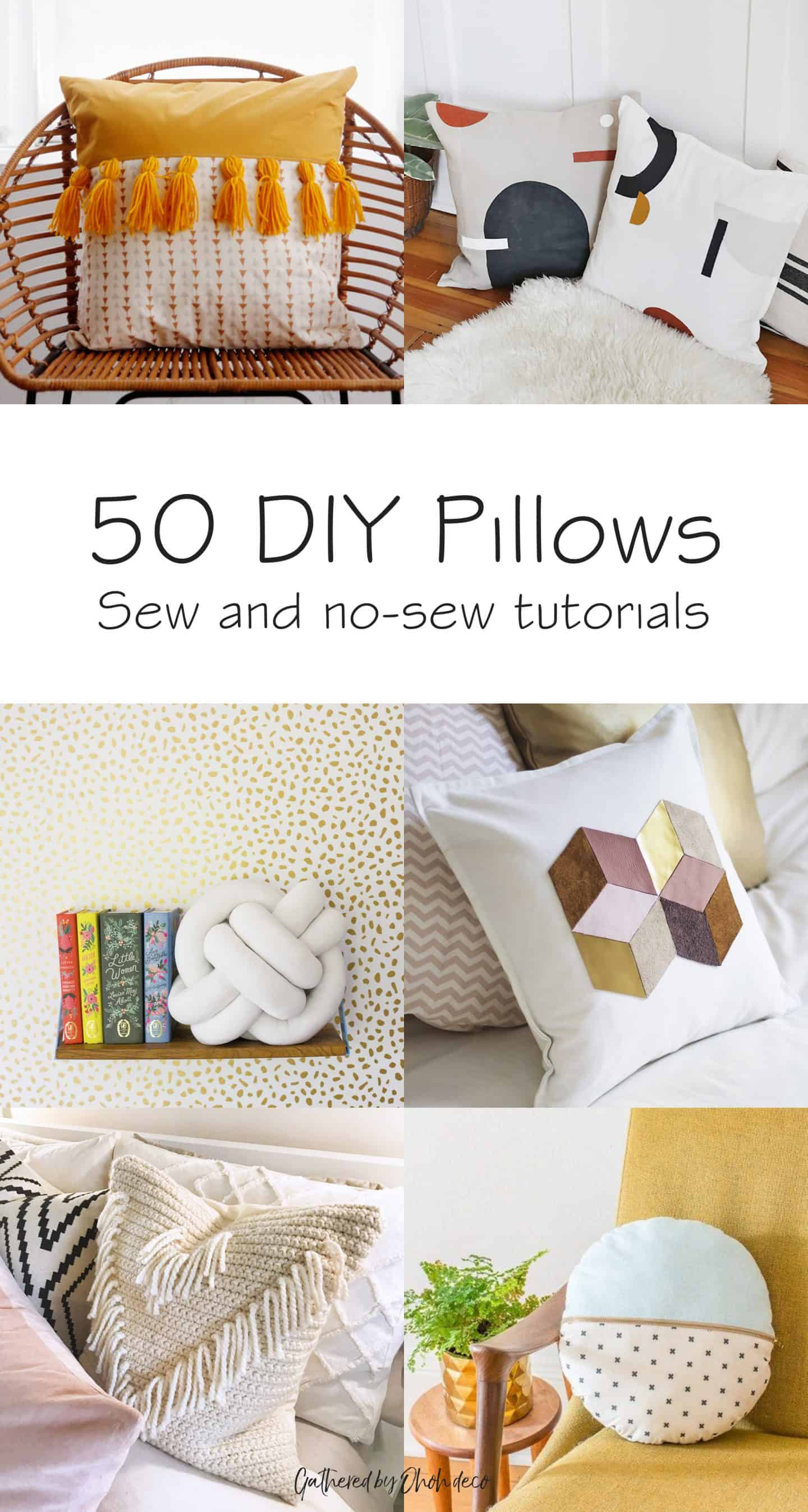 50 DIY pillows - sewing tutorial and no-sew