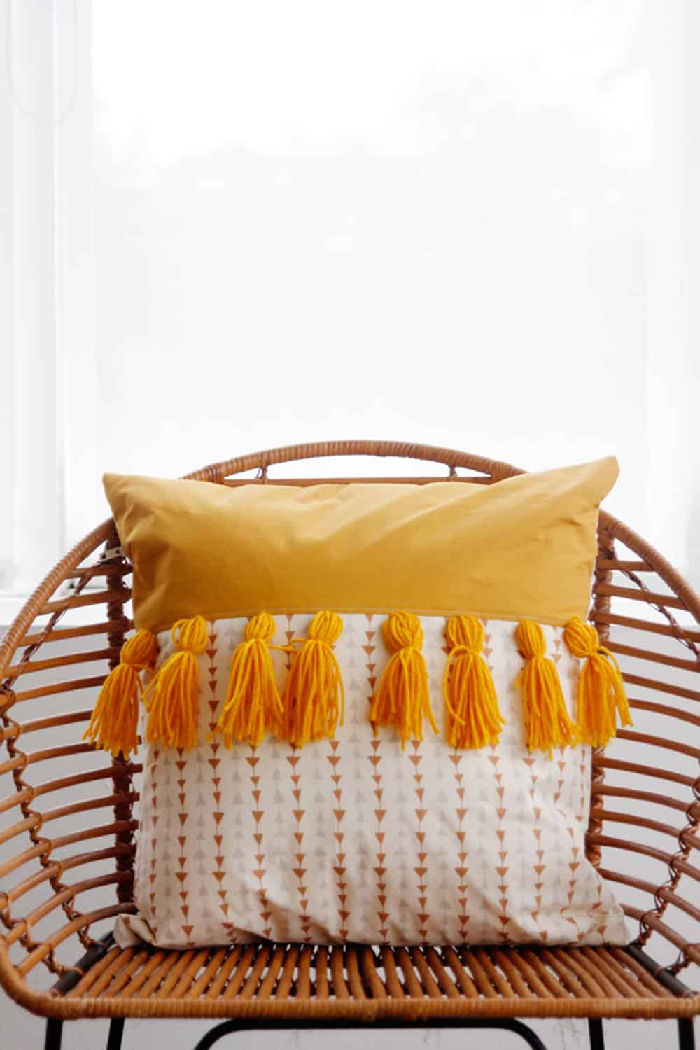 diy tassels pillow cover