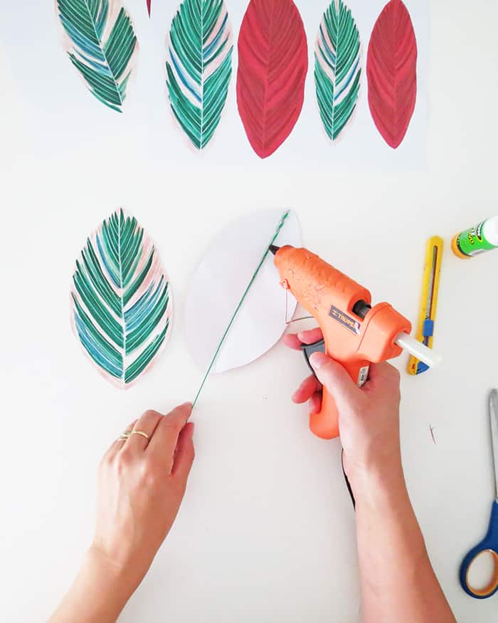 how to make diy paper plant gluing stem