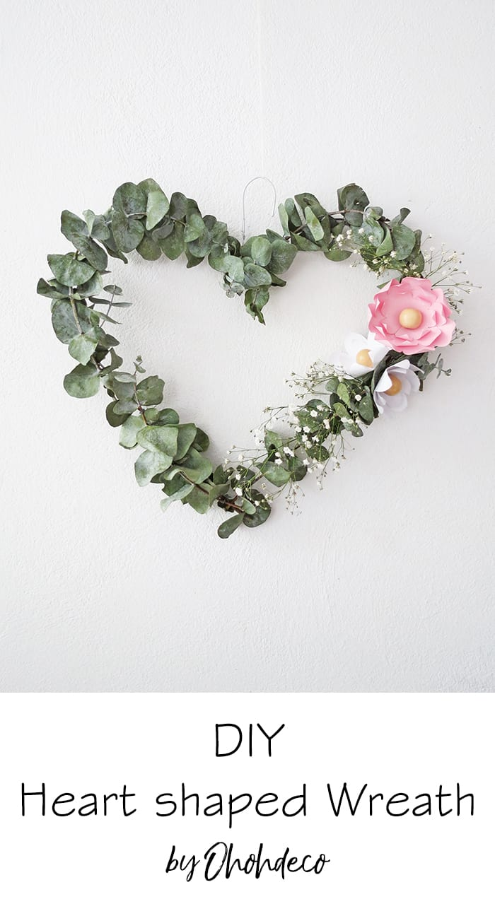 make heart wreath with eucaliptus