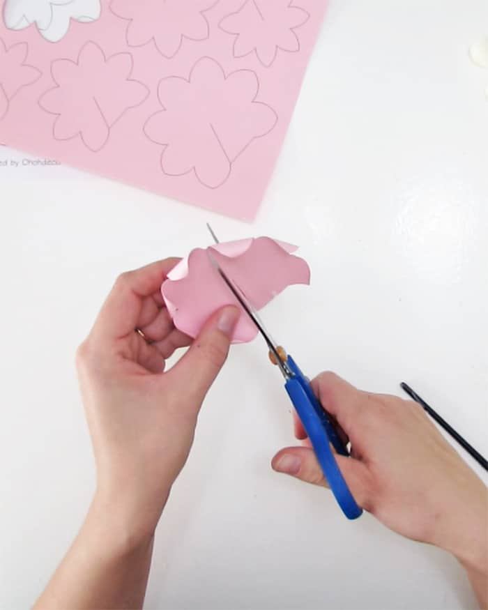 cutting paper flower