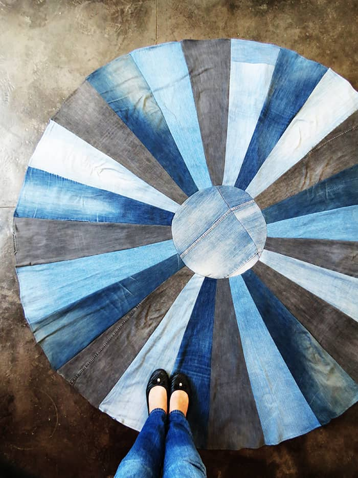 DIY recycled denim rug