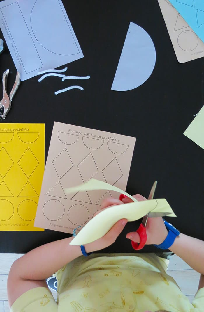 geometric paper wall hanging for kids