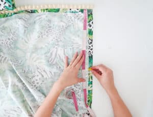 measure to sew rings on diy relaxed roman shades