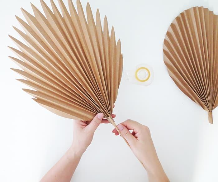diy paper palm leaf gluing stem
