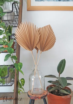 DIY paper palm leaf decor
