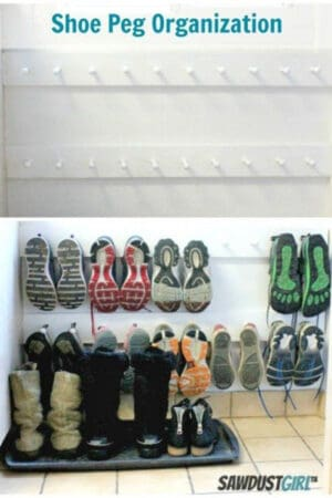 wall shoe storage with peg