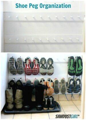 diy shoe wall storage