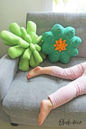 cactus pillow and succulent pillow on couch